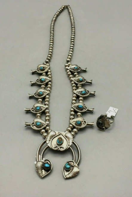Dainty turquoise and sterling silver squash blossom