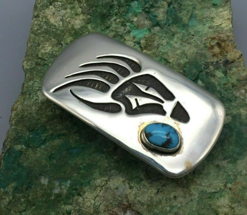 Vintage sterling silver bear paw turquoise