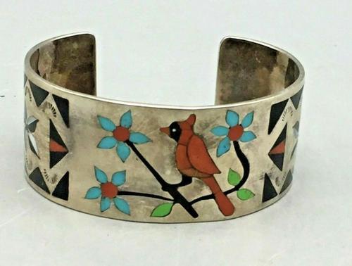 Cardinal Zuni inlay cuff