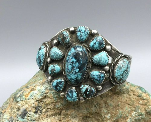 Spider web turquoise cluster cuff