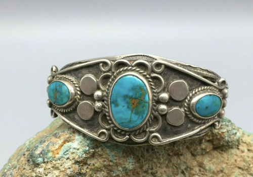 Blue Gem turquoise sterling silver cuff