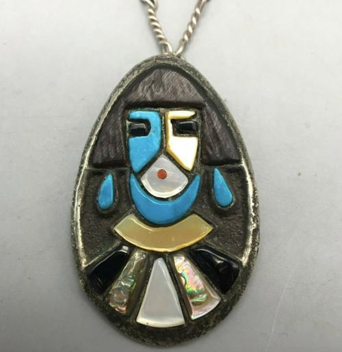 Zuni inlay pendant on a handmade chain