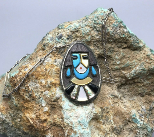 Zuni inlay pendant on a handmade chain