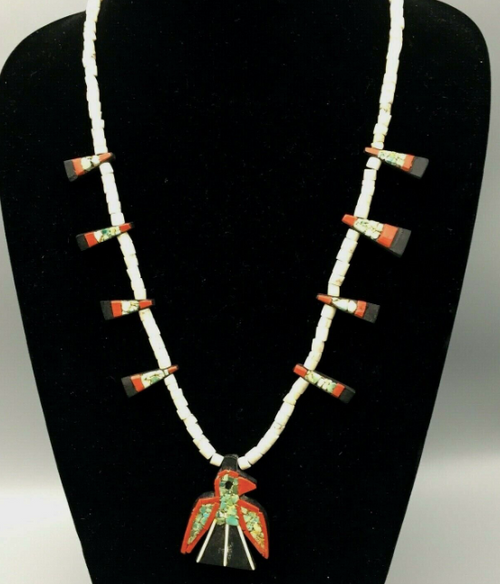 Thunder bird Santo Domingo necklace and earrings