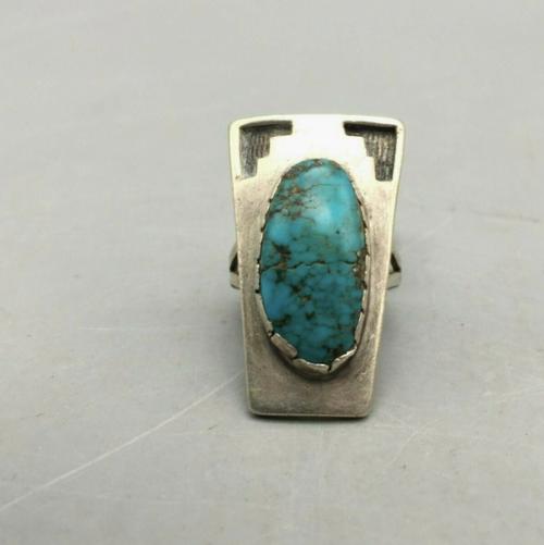 Dean Siwingyumptewa Hopi overlay and turquoise ring