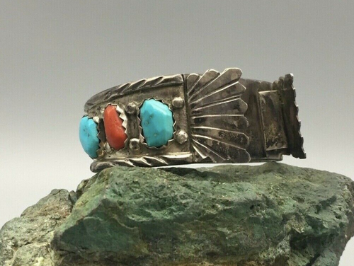 Vintage turquoise and coral watch band