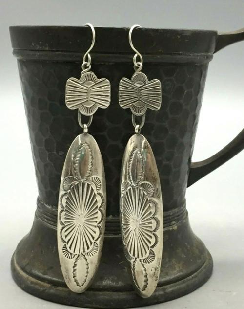 Vintage sterling silver concho earrings