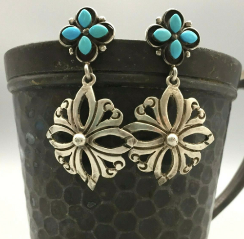 Fancy turquoise and sterling silver earrings