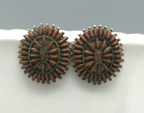 Coral needle point earrings