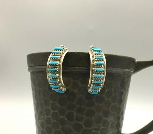 Vintage turquoise needle point earrings