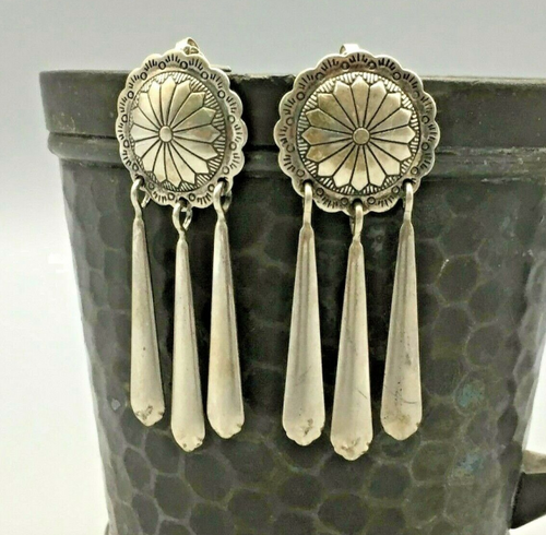 Concho style earrings with dangles
