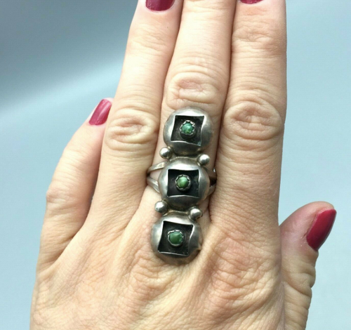 Triple shadow box ring with green turquoise