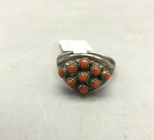 Coral dots Zuni ring