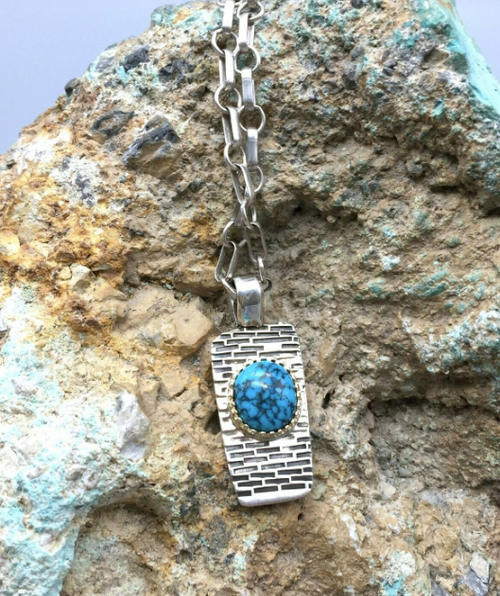 14k Gold, sterling silver and Lone Mountain Turquoise necklace