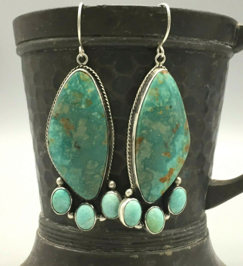 Green turquoise and sterling silver earrings
