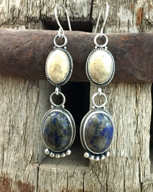 Fossilized coral and denim lapis dangle earrings!