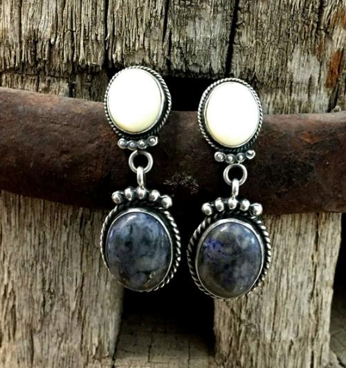 Pearl and denim lapis earrings