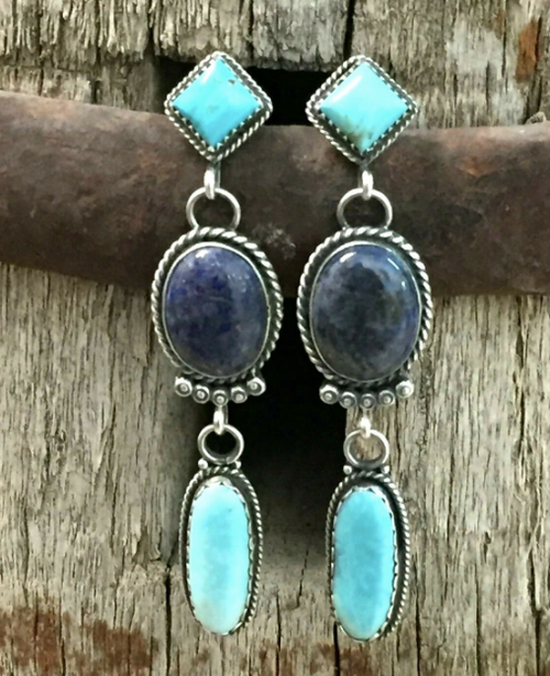 Denim lapis and turquoise earrings