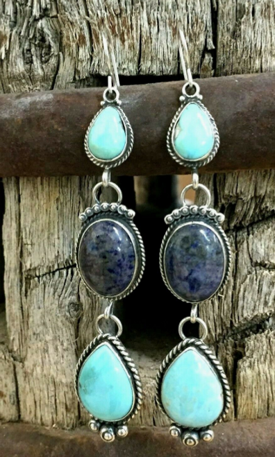 Tear drop turquoise and denim lapis earrings