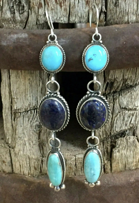 Turquoise and denim lapis earrings
