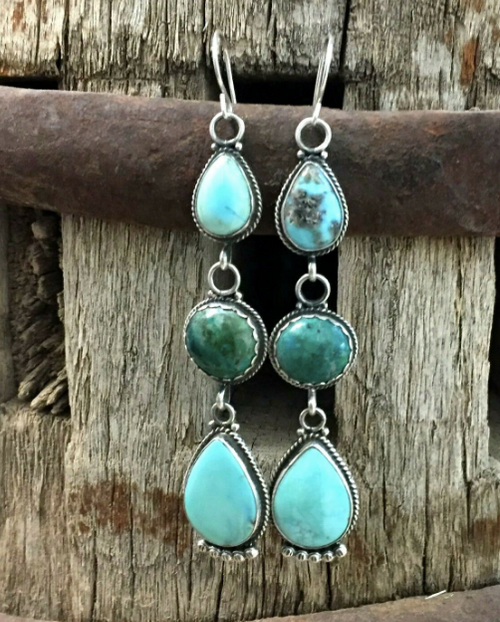 Seraphinite and turquoise earrings
