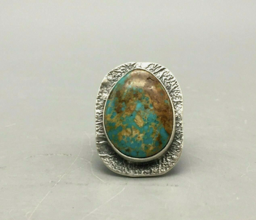 Turquoise and textured sterling silver ring