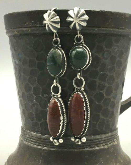 Red jasper and green stone dangle earrings