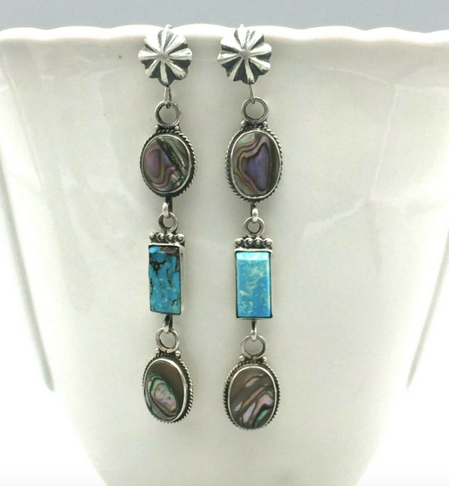 Abalone and turquoise triple dangle earrings