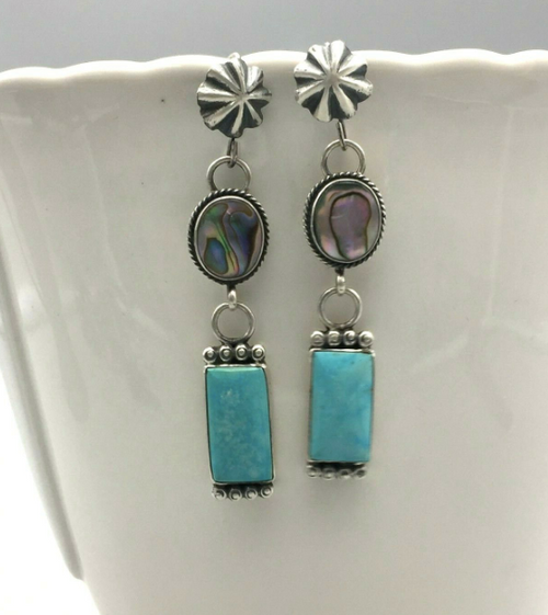 Turquoise and abalone shell earrings