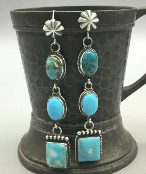 Triple turquoise dangle earrings