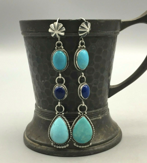 Lapis and turquoise dangle earrings
