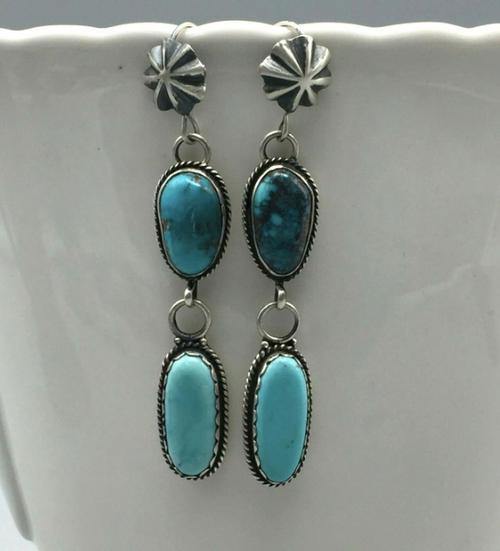Double dangle turquoise earrings