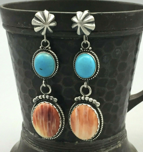 Spiny oyster and turquoise dangle earrings