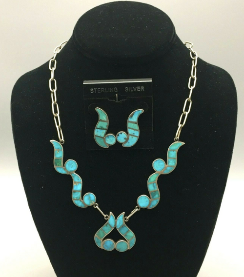 Channel inlay turquoise necklace set