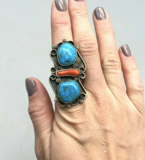 Turquoise and coral ring size 7