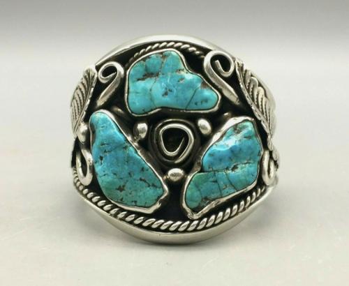 3 turquoise stone cuff