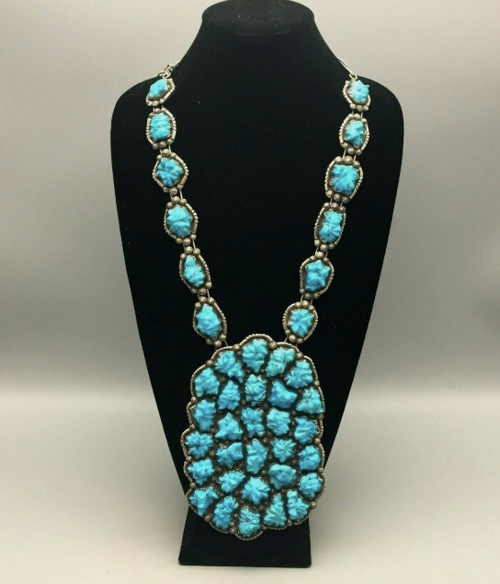 Carved turquoise necklace