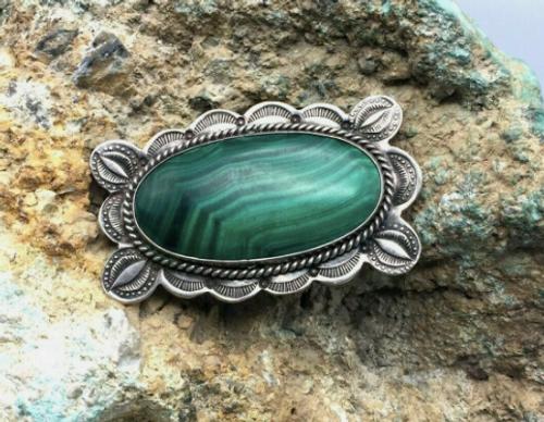 Vintage Malachite pin