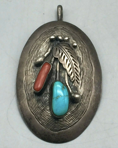 Vintage turquoise and coral pendant
