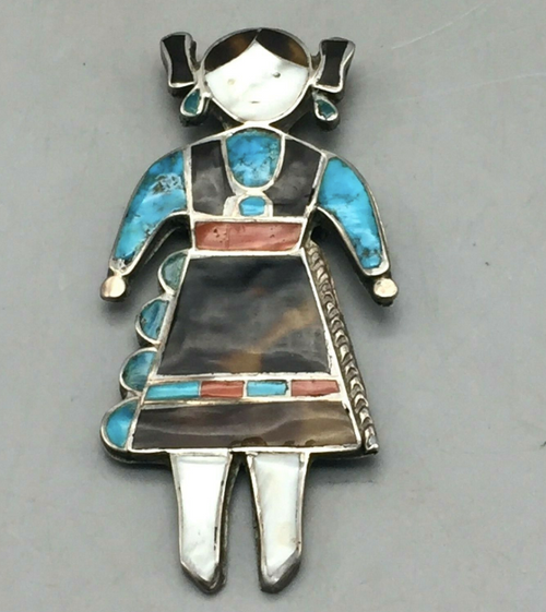 Zuni maiden figure pin/brooch