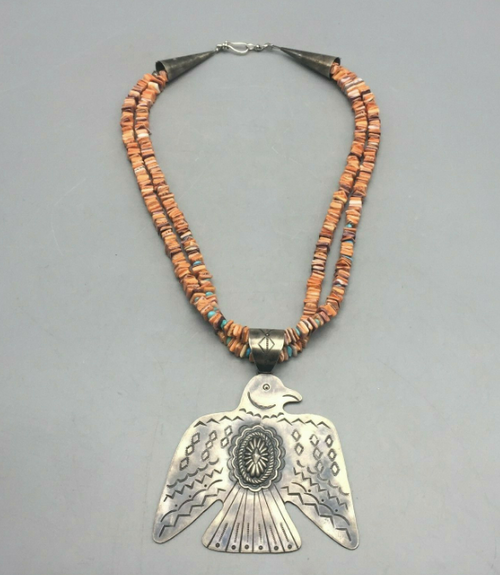 Spiny oyster and turquoise necklace with Nick Jackson T-bird pendant