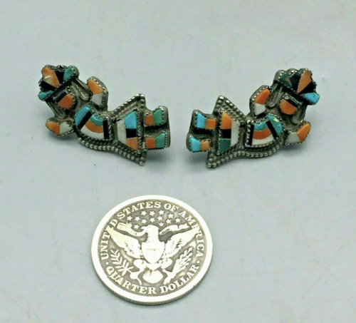 Rainbow man inlay post earrings