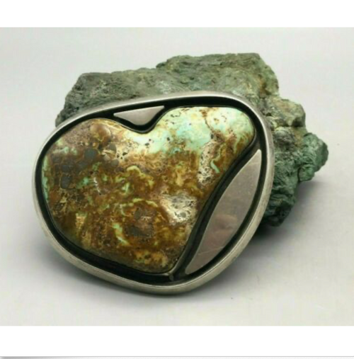 turquoise, sterling silver, belt buckle, signed