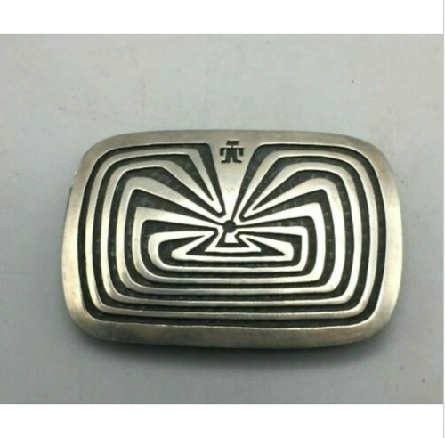 sterling silver, belt buckle, Man in the Maze, signed