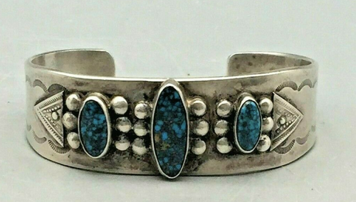 High grade turquoise and coin silver bracelet