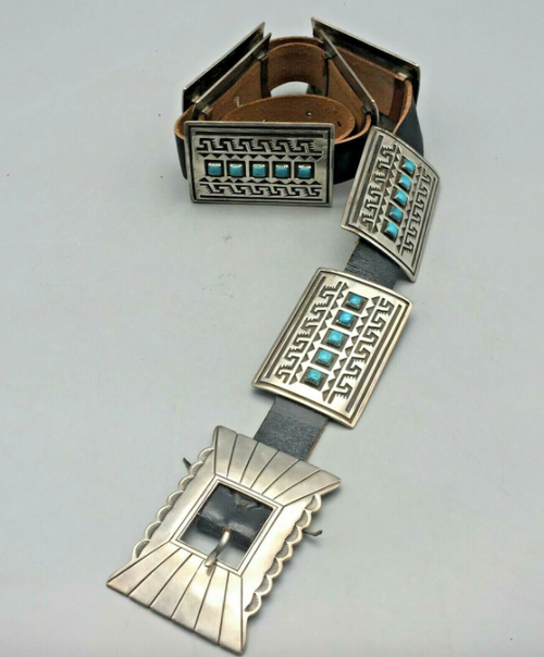 Overlay Concho Belt With Water Pattern and Turquoise Accents
