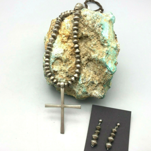 Ingot bead and cross necklace and earrings