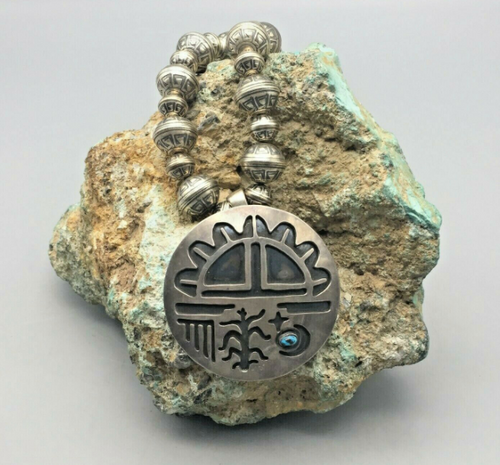 Overlay Pendant with Turquoise Nice Stone and Navajo Pearls Necklace