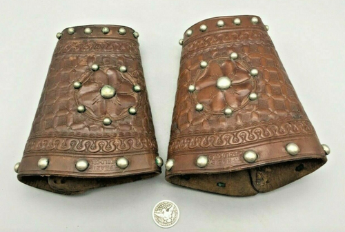 antique pair of R.T. Frasier marked wrist cuffs with studded accents