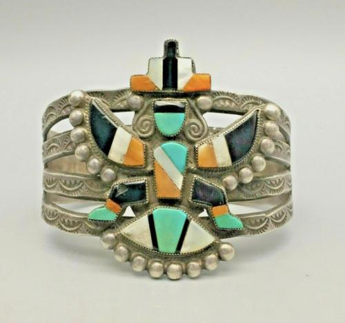Elegant Vintage Zuni Inlay Knifewing Bracelet - Circa 1940s